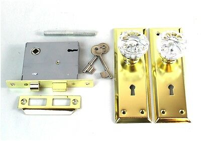 Brass Door Plates Mortise Lock and Glass Knobs & Skeleton Keys