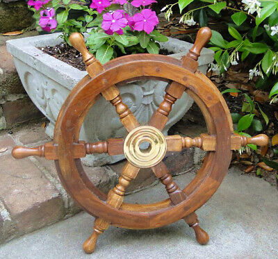 "Ships STEERING WHEEL 18""  wooden antique style teak brass nautical"