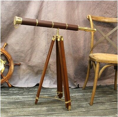 "Big Telescope on Adjustable Stand Leather Brass 50"" T Antique Reproduction"