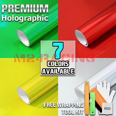 *7 Colors Holographic Rainbow Neo Chrome Car Vinyl Wrap Bubble Free Sticker Film