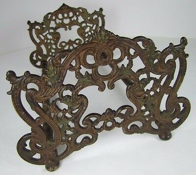 Antique Art Nouveau Expandable Book Rack lovely scrollwork cast iron bronze ends