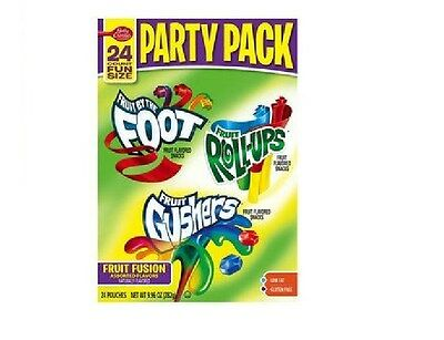 Betty Crocker Party Pack Gushers Fruit Roll-Ups By the Foot Snack 24 9.96oz BFR