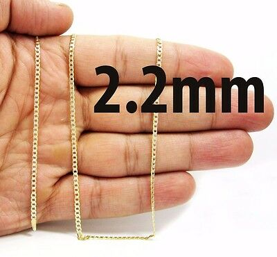 2.2mm 14K Solid Yellow Gold Cuban Link Chain Necklace Men Women 16 -30 Inches