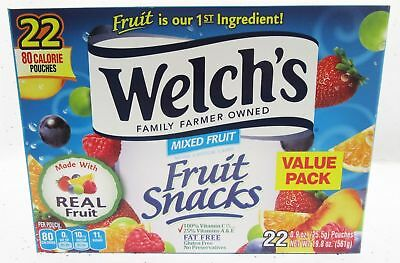 Welch's Mixed Fruit Fat Free Fruit Snacks 22ct .9 oz bags real fruit value BFR