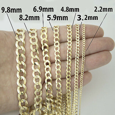 3.2mm 14K Solid Yellow Gold Cuban Link Chain Necklace Men Women 16 -30 Inches