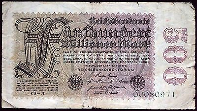 GERMANY 1923 rare variant (Ros. 109e) 500 Million Mark Inflation Banknote