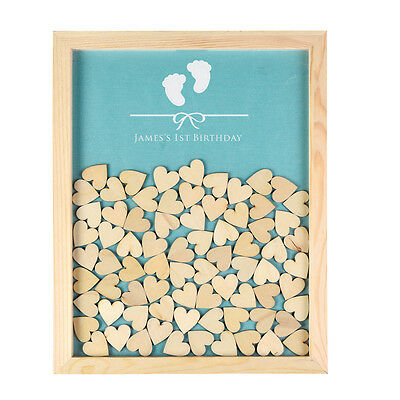 Personalized Engraved Drop Top Guest Book Wooden Frame Baby Shower 130Pcs Hearts