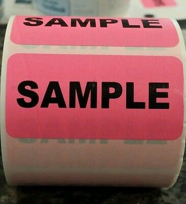 """SAMPLE fluorescent PINK 1"""" x 2"""" (20 labels) invoice sticker freebies lv"""