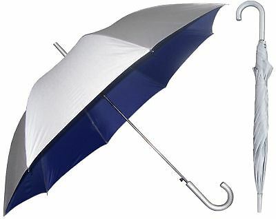 Silver Sunblock Umbrella with Navy Blue Lining - UV Protection Umbrella for