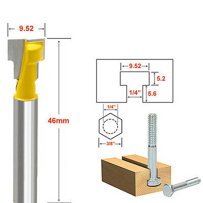 3/8'' T-Slot Cutter 1/4'' Shank Steel Handle Milling Router Bit for Woodworking