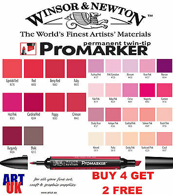 Winsor & Newton PROMARKER Pen Red & Pink Colour Drawing Art Student Letraset