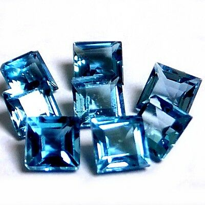 NATURAL TOP LONDON BLUE TOPAZ GEMSTONE (PAIR) SQUARE PRINCESS CUT (3 x 3 mm)
