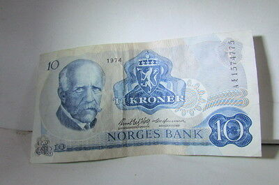1974 10 Kroner Norges Bank-Good Condition