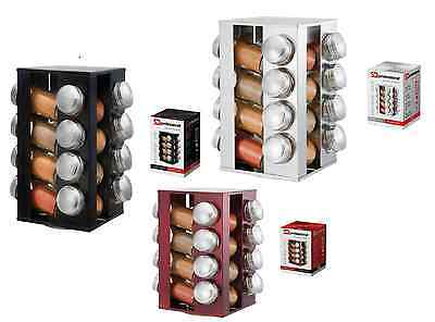 New Stainless Steel Rotating Revolving Glass 16 Spice Jar Rack Stand With Lid
