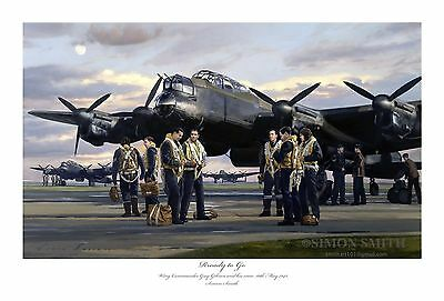 Ready To Go - Dambuster Raid Ltd Ed Print Signed Simon Smith Lancaster Gibson