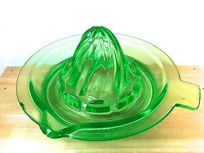 "Bright Green Vaseline Glass Small Juicer 5"" Uranium Reamer Tab"