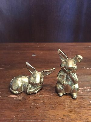 "Pair Of Vintage Miniature Riverside Brass Bunny Rabbit Figurines 2"" Tall Canada"