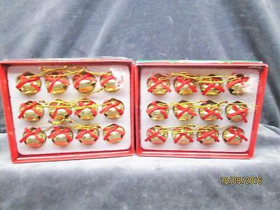 2 Boxes Holiday Style Gold With Red Bows 1 Inch Metal Christmas Bells New