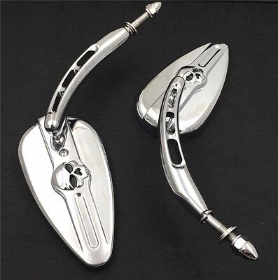 Chrome Skull Side Mirrors with Hollow-out Stems For Harley Electra Glide