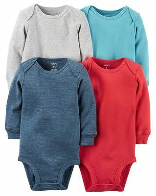 New Carter's 4 Pack Solid Colors Boy Bodysuits NWT Size NB 3 6 9 12 18 24 Red