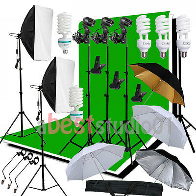 Photog Studio Softbox Backdrop Umbrella Continuous Lighting Kit Background Stand
