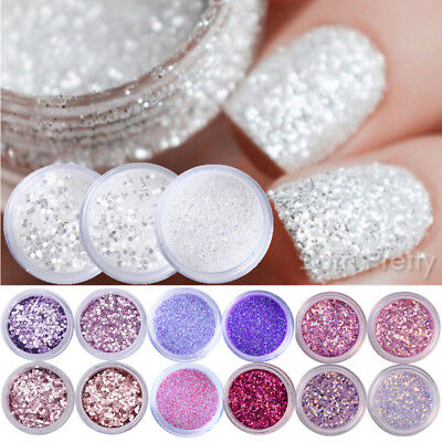Nail Glitter Sequins Powder Rose Gold Nail Art White Silver Mixed  3D Decoration