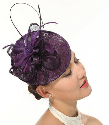 Kentucky Derby Feather  Sinamay w Lace Headband Fascinator Cocktail Purple