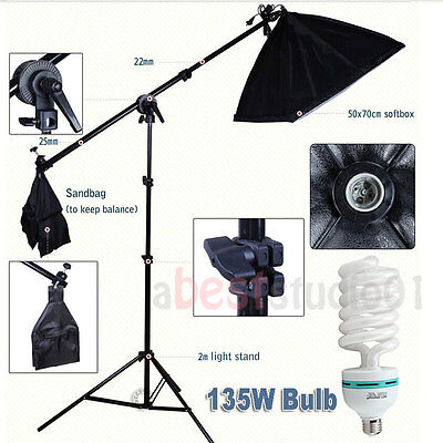 Photography Studio Softbox 675W Continuous Soft Box Lighting Boom Arm Stand Kit