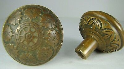 Antique Pair Bronze Door Knobs ornate flowers leaves high relief exquisite hdwr