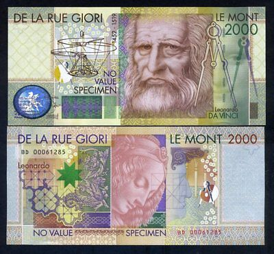 De La Rue GIORI, Test / Advertising note / Specimen, Leonardo Da Vinci 2000