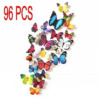 96PCS 3D Butterfly Art Decal Wall Stickers/Magnetic Home Decor Room Decorations