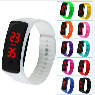 Men Women Rubber Red LED Waterproof Watch Sport Bracelet Digital Wristwatch Gift