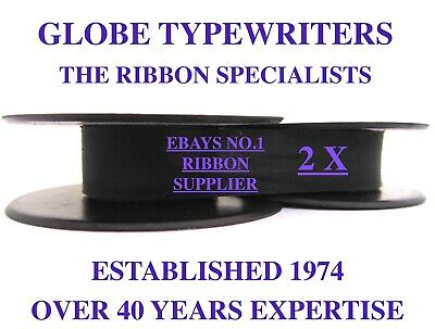 2 x 'ADLER UNIVERSAL 20' *PURPLE* TOP QUALITY *10 METRE* TYPEWRITER RIBBONS