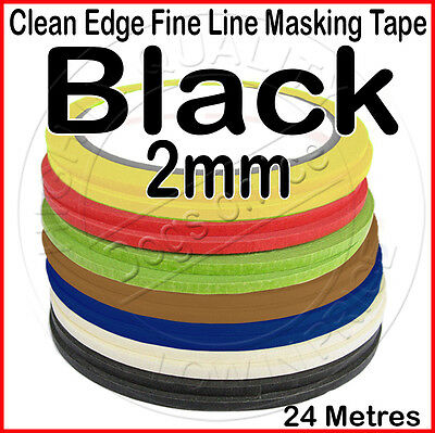 Clean Edge Fine Line Masking Tape 2mm x 24M - BLACK - Paint Models Nails AR UK