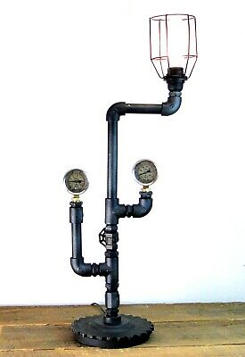 Metal Pipe Cage Lamp with Gauges Hand Crafted Industrial Steampunk