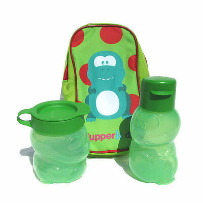 Tupperware NEW Kids Dino Dinosaur Flip Top Bottle Snack Pot and Pouch set Green
