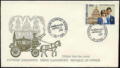 Cyprus 1981 Royal Wedding FDC First Day Cover #C14952