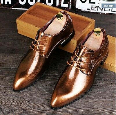 New Mens Dress Formal Shoes Brogue Pointy Toe Patent Leather Wedding Shoes Size