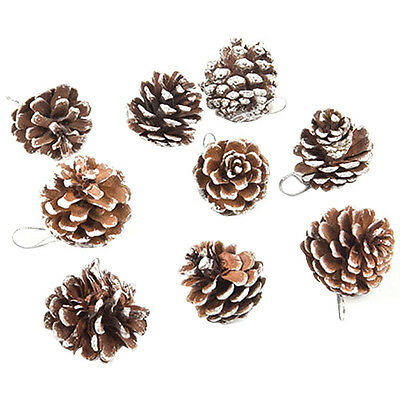 9 Real Natural Small Pine cones for Christmas Craft Decorations White Paint JMHG