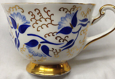 Royal Chelsea England Teacup Cup Only Blue Flowers Gold Corkscrew Leaves Cobalt