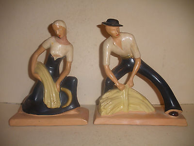 RARE VINTAGE Alexander Backer ART DECO MAN WOMAN HARVEST FIGURES CHALKWARE