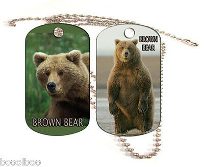 Brown Bear Aluminum Dog Tag Double Sided With Chain