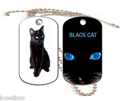 Black Cat Aluminum Dog Tag Double Sided With Chain