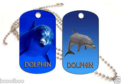Dolphin Aluminum Dog Tag Double Sided With Chain