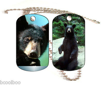 Black Bear Aluminum Dog Tag Double Sided With Chain