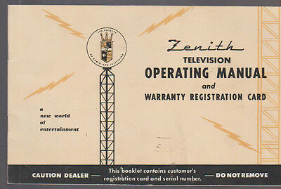 Zenith Television Operating Manual 19721973 Vintage 864 Picclick. Zenith Television Operating Manual 1950s W Schematics. Wiring. Zenith 5g03 Wiring Diagram At Scoala.co