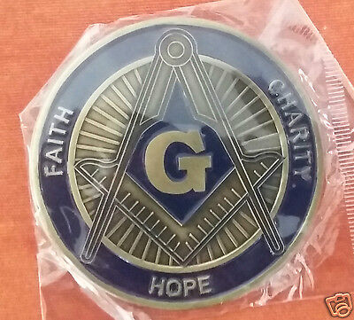 Freemason Faith, Hope, Charity Cut Out Car Emblem in Blue & Gold