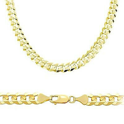 4.8mm 14K Solid Yellow Gold Cuban Link Chain Necklace Men Women 16 -30 Inches