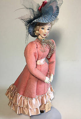 Lillian Russell Vintage Art Doll w LEATHER Face and Hands American Cloth 9-10""