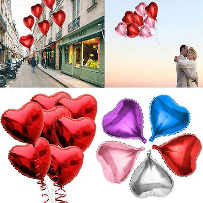 5PCS Colorful Love Heart Foil Helium Balloons Wedding Party Birthday Celebration